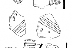 Рис. 7. Разнобрычка. Гребенчатая (2, 3-5, 7-8), накольчатая (6) керамика и изделия из кремня (1, 9-12)