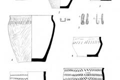 Рис. 13. Курганный могильник Репьевка 1. Находки из кургана 2. 1 – погребение 7; 2-5 – погребение 8; 6-7 – погребение 9; 8 – погребение 10