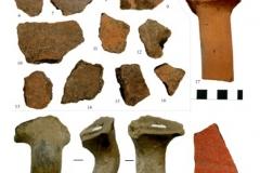 Рис. 21. Поселение Бузинка II. Средневековая керамика (1-3), керамика РЖВ (4, 5), эпохи бронзы (6-16), из раскопочных слоев 2 (17, 18, 21) и 4 (19, 20)