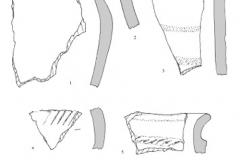 Рис. 22. Поселение Бузинка II. Керамика из раскопочных слоев 1 (1), 2 (2, 3) и 3 (4-8)