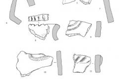 Рис. 24. Поселение Бузинка II. Керамика из раскопочных слоев 4 (1-7) и 5 (8-13)