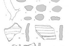 Рис. 9. Поселение Сухие Челбасы 18. Керамика из слоя. 1-9 – фрагменты ручек и их сечения; 10-14 – фрагменты стенок с рифлением. 1-6, 10, 11 – слой 1; 7, 8, 12-14 – слой 2; 9 – слой 4