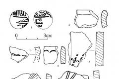 Рис. 16. Вольский район. Поселение Терешка. Подъёмный материал и находки из шурфа.