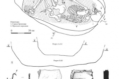 Рис. 11. Типки 2, курган 1, погребение 3. 1 – план и разрезы; 2 – серьга бронзовая; 3 –фрагмент керамики