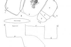 Рис. 17. Типки 3, курган 1. 1 – погребение 4, план и разрез; 2 – погребение 5, план и разрез