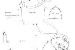 Рис. 2. Типки 1, курган 3. 1 – погребение 1, план, разрез; 2 – 3 погребение 2, план, разрез; 3 – фрагмент красноглиняной керамики