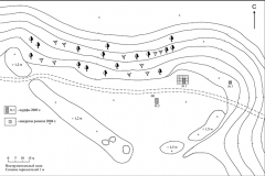 Рис. 2. План городища «Петровский городок» с шурфами 2005 г и раско-пом 2006 г.