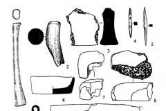 Рис. 9. Инвентарь эпохи поздней бронзы из Мартышкино. 1, 9, 10 – рукояти из постройки № 3; 2 – обломок стержня из ритуальной ямы; 3 – фрагмент «утюжка»; 4, 5 – шилья; 6,7 – изложницы; 8, 11 – фрагменты литейных форм. 1, 9, 10 – кость; 2- рог; 3 – камень; 4, 5 – бронза; 6 - 8, 11 – глина.