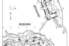 Рис. 2. Увекское городище. Объекты, выявленные на уровне материка