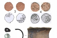 Рис. 6. Находки из раскопа II. 1, 2, 5, 6 – жилище; 3 – подъемный материал по склону; 4 – водоем. 1 – пул Абдаллаха без указания года чеканки и монетного двора; 2 –пул Хызр-хана, Гюлистан, 7[62] г.х.; 3 – пул анонимный с изображением льва и солнца; 4 – пул анонимный, Сарай, [726 г.х.]; 5 – перламутровая бусина; 6 – фрагмент глиняной трубы