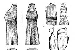 Рис. 9. Материалы Варфоломеевской стоянки с элементами художественного оформления. 1-4, 6 – камень; 5 – мел; 7 – керамика.