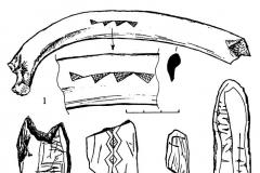 Рис. 5. Варфоломеевская стоянка. Струг (1) и кости с гравировкой.