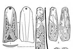 Рис. 3. Варфоломеевская стоянка. Шпатели для обработки керамики и подвески с геометрическим орнаментом.