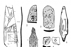 Рис. 4. Варфоломеевская стоянка. Изделия из кости с геометрическим орнаментом и элементами пиктограмм (4, 6, 10).