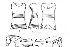 Рис. 8. Варфоломеевская стоянка. Стилизованное изображение женщины (1), фигурки лошади из кости (2 - 4) и заготовки для антропоморфных скульптурок из путовых костей лошади (5-7).