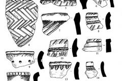 Рис. 5. Никольевка. Керамика воронежской культуры (1-18)