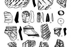 Рис. 7. Керамика (1-7, 12-22), каменные (8-10) и глиняные изделия (11) с поселений воронежской культуры лесостепного Прихоперья: (1-11) – Никольевка;(12-19) – Шапкино I; (20-21) – Алмазово I; (22 ) – Инясево