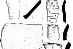 Рис. 3. Репное. 1-4, 6-8 – постзарубинецкая керамика; 5 – камень