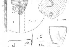 Рис. 7. Золотая Гора, курган 2. Пример кургана с основным индивидуальным погребением под насыпью.1 – план и профиль кургана; 1 а – погребение 1; 2 а – погребение 2; 2, 3 – керамические сосуды; 4 – пастовые бусы; 5 – остатки бронзовой подвески.