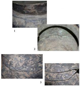 Рис. 2. Котел с горы Венцы, детали: заплатка под венчиком (1), уровень органического происхождения на внутренней поверхности (2), участки заплаток на дне (3)